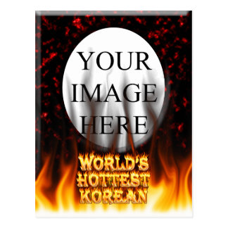 World's Hottest Korean fire and flames red marble Postcard