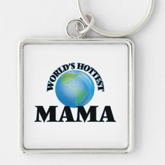 World's Hottest Mama Silver-Colored Square Keychain