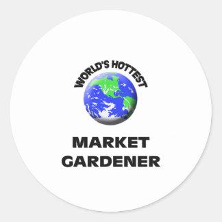 World's Hottest Market Gardener Round Stickers