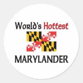 World's Hottest Marylander Classic Round Sticker
