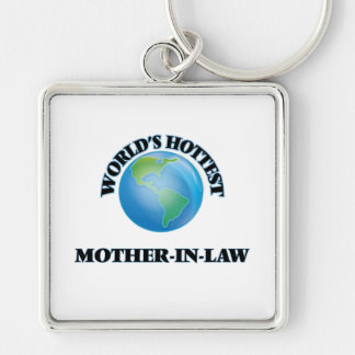World's Hottest Mother-in-Law Silver-Colored Square Keychain