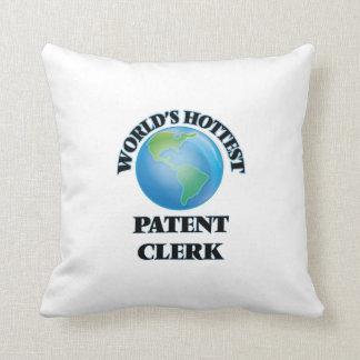 World's Hottest Patent Clerk Throw Pillows