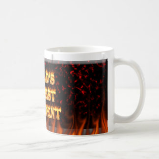 World's Hottest President fire and flames red marb Classic White Coffee Mug
