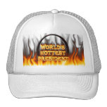 World's Hottest President fire and flames red marb Trucker Hat