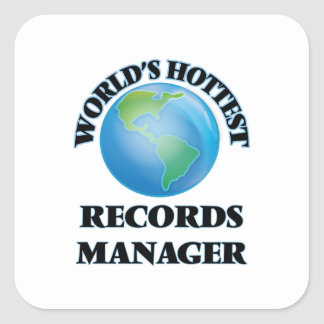 World's Hottest Records Manager Square Stickers