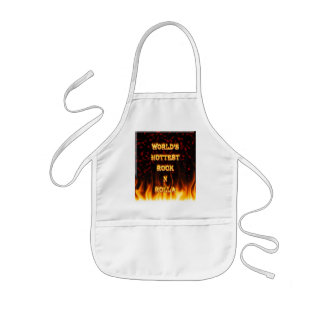 World's Hottest Rock N Rolla fire and flames red m Kids' Apron