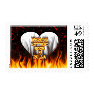 World's Hottest Rock N Rolla fire and flames red m Postage Stamps
