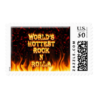 World's Hottest Rock N Rolla fire and flames red m Postage