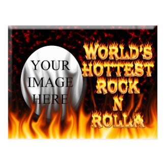 World's Hottest Rock N Rolla fire and flames red m Postcard