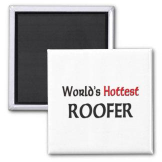 Worlds Hottest Roofer 2 Inch Square Magnet