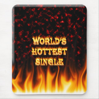 World's Hottest Single fire and flames red marble. Mouse Pad