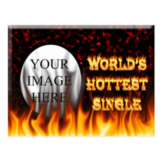 World's Hottest Single fire and flames red marble. Postcard