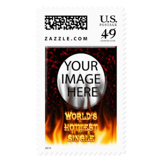 World's Hottest Single fire and flames red marble. Stamp