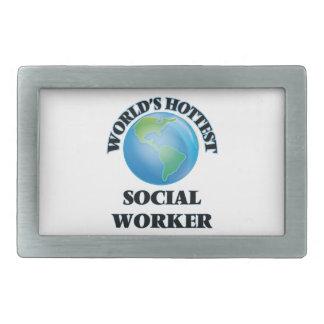 World's Hottest Social Worker Rectangular Belt Buckles