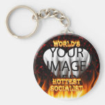 World's Hottest Socialist fire and flames red marb Basic Round Button Keychain