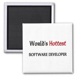 Worlds Hottest Software Developer 2 Inch Square Magnet
