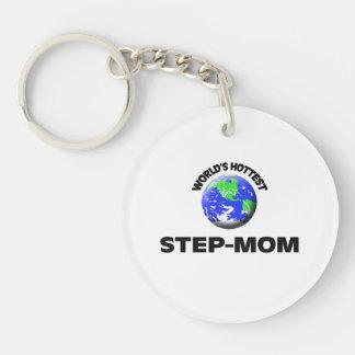 World's Hottest Step-Mom Single-Sided Round Acrylic Keychain