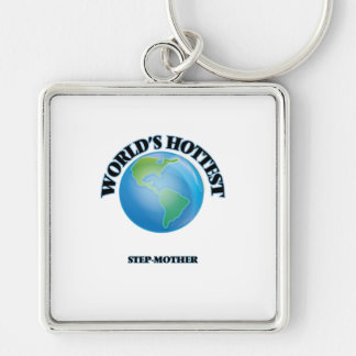 World's Hottest Step-Mother Silver-Colored Square Keychain