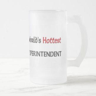 Worlds Hottest Superintendent 16 Oz Frosted Glass Beer Mug