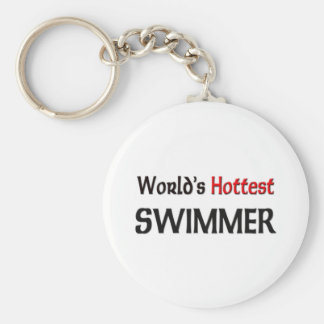Worlds Hottest Swimmer Basic Round Button Keychain