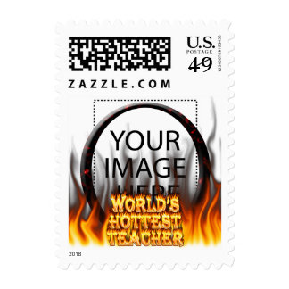 World's Hottest Teacher fire and flames red marble Stamp