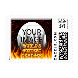 World's Hottest Teacher fire and flames red marble Postage