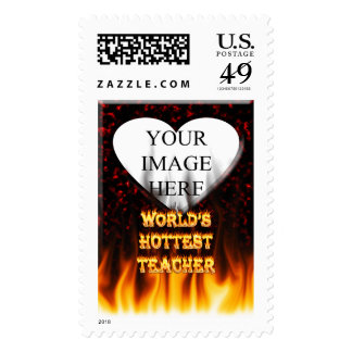 World's Hottest Teacher fire and flames red marble Postage Stamp