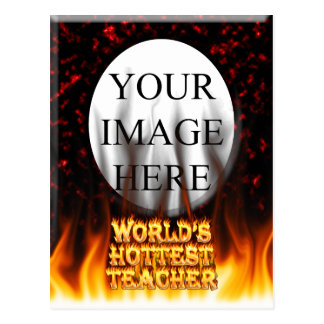 World's hottest Teacher fire and flames red marble Postcard