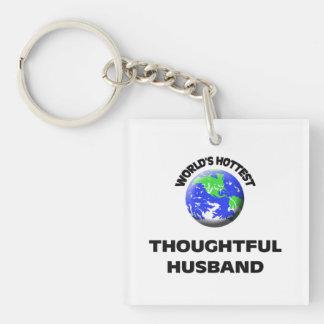 World's Hottest Thoughtful Husband Double-Sided Square Acrylic Keychain