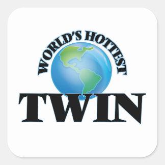 World's Hottest Twin Square Sticker