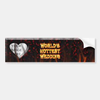 World's Hottest Wedding fire and flames red marble Bumper Sticker