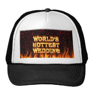World's Hottest Wedding fire and flames red marble Trucker Hat