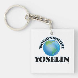 World's Hottest Yoselin Single-Sided Square Acrylic Keychain