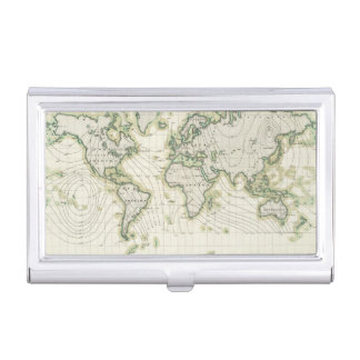 World's magnetic declination business card case
