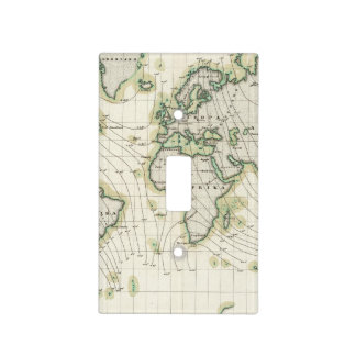 World's magnetic declination light switch cover