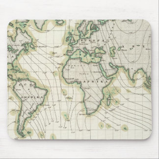 World's magnetic declination mouse pad