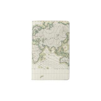 World's magnetic declination pocket moleskine notebook