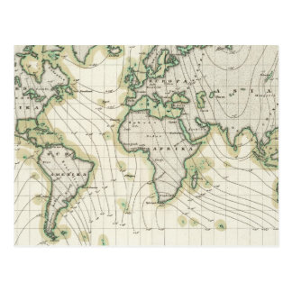 World's magnetic declination postcard