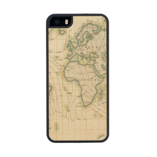 World's magnetic declination wood phone case for iPhone SE/5/5s