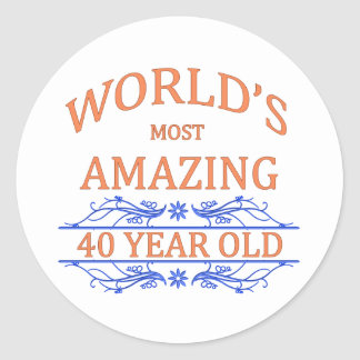 World's Most Amazing 40 Year Old Classic Round Sticker