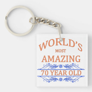 World's Most Amazing 70 Year Old Single-Sided Square Acrylic Keychain