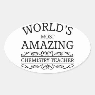 World's most amazing chemistry teacher oval sticker