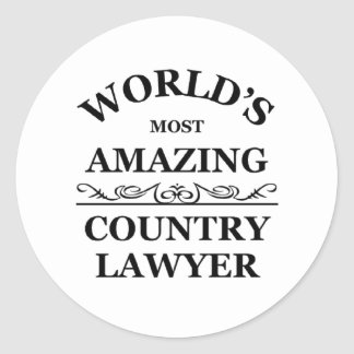 World's most Amazing country lawyer Classic Round Sticker