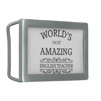 World's most amazing english teacher rectangular belt buckle