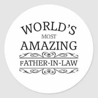 World's most amazing Father-in-law Classic Round Sticker