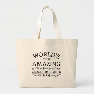 World's most amazing geography teacher large tote bag