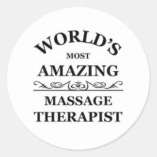 World's most amazing Massage Therapist Classic Round Sticker