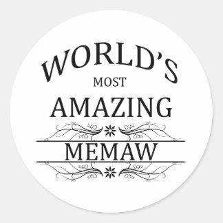 World's Most Amazing Memaw Classic Round Sticker