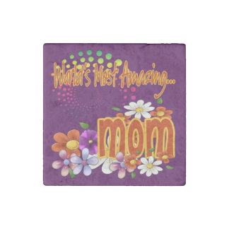 World's Most Amazing Mom Floral Stone Magnet