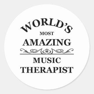 World's most amazing Music Therapist Classic Round Sticker